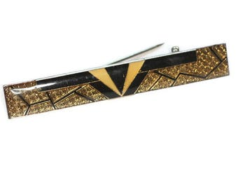 Art Deco Style Bar Pin  Brooch Gold and Black Geometric Design Vintage