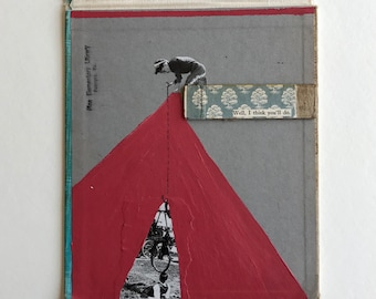Well, I Think You'll Do // Mixed Media Collage on Vintage Book Cover // Unframed