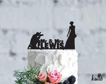 Photographer wedding cake topper, Customizable Wedding Cake Topper, photography wedding, Custom Groom & Bride Silhouette Wedding Cake Topper