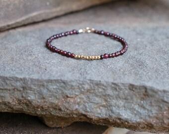 Red Beaded Bracelet, Garnet Jewelry, Small Gemstone Beads, Delicate Gold Stacking Bracelet