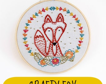 CRAFTY FOX - pdf embroidery pattern, fox embroidery design, embroidery patterns, instant download, geometric, fox embroidery, cozyblue etsy