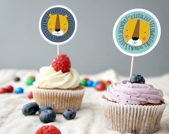 Lion theme cupcake toppers, zoo party cupcake toppers, boys birthday party cupcake toppers, printable party kit, printable cupcake toppers