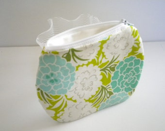 Floral Pouch, Summer Purse, Credit/Gift Card Holder, Coin Purse, Blossoms in Teal, Blue, Green and White