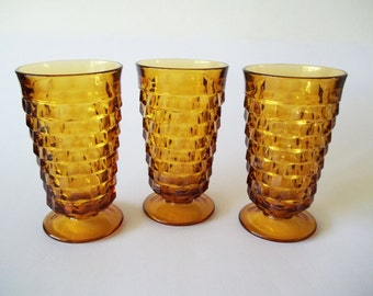 Iced Tea Glasses, Colony / Indiana Whitehall Amber Gold, Set of 3, USA 1960s