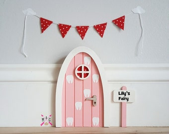 Personalised fairy door tooth fairy pink with miniature bunting - pretend play - tooth fairy door