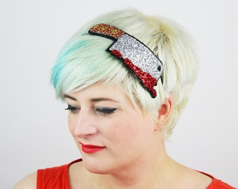 Halloween Bloody Meat Cleaver Headband, Glitter