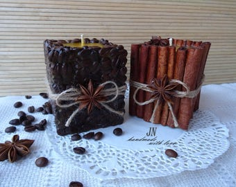 beeswax candles set, cinnamon candle, coffee candle, gift set candles, handmade pillar candles, wax candles, Mother's Day Gift, gift for mum