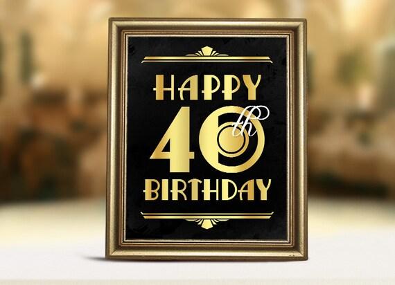 Birthday Decor Happy 40th Birthday Sign Printable 40th