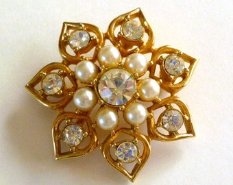 Pearl Rhinestone Brooch Signed Sarah Coventry