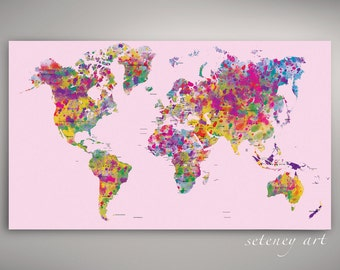 Abstract world map etsy world map watercolor world pink map printable map instant downloadprintable artkids decor worldmap artdigital art abstract world map gumiabroncs Gallery