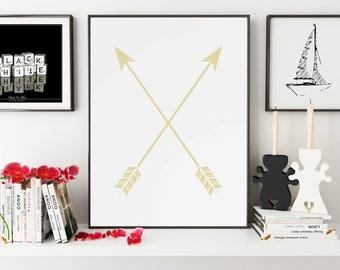 Gold, Crossed Arrows Print, Crossed Arrows Wall Art, Crossed Arrows Wall Print, Crossed Arrows Wall Prints, Wall Art, Wall Print