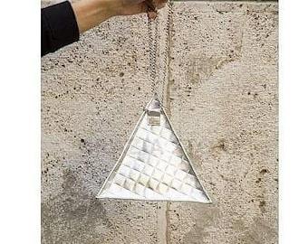 Silver 3D triangle shoulderbag