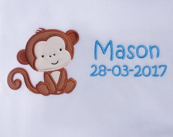 Personalised Embroidered Baby Fleece Blanket With Baby Monkey Design and Babies Name and Date Of Birth Newborn Christening Gifth