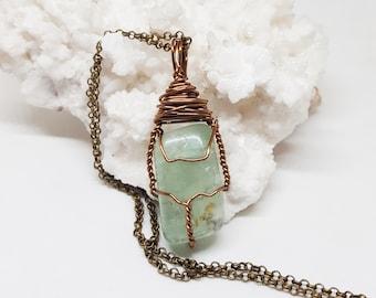 Wire Wrapped Jewelry Healing Crystal Jewelry Green FLUORITE Necklace Handmade Jewelry The Stone Fairy Jewelry Wicca Bohemian Jewelry GF211