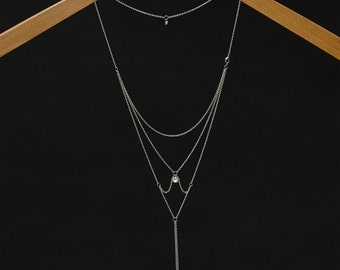 Moon & Stars - Back Necklace (BN-01S) Silver