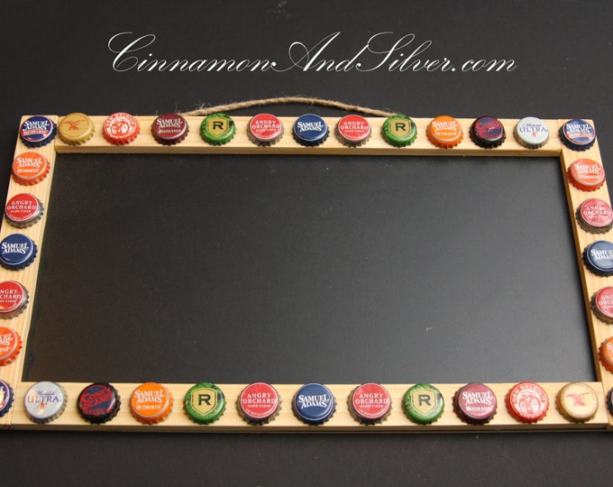 Upcycled Beer Bottle Cap Chalk Board, Bottle Cap Blackboard, Bottle Cap Message Board, Bottle Cap Decor, Home Bar Decor, Beer Lover Gift