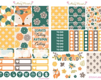 Autumn Fall Foxy Weekly Planner Sticker Kit for use with ERIN CONDREN LIFEPLANNER™, Happy Planner, A5, Personal, Pocket, Travelers Notebook