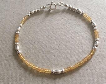 Yellow Sapphire Bracelet, Sterling Silver Bead Bracelet, Sapphire Jewellery, September Birthstone Jewelry Gift, Handmade Minimalist Bracelet