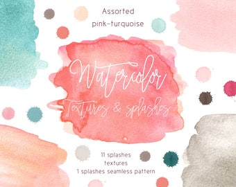 High quality hand-painted watercolor splashes, spots, seamless pattern textures in assorted range of colors light pink, greige, beige, teal