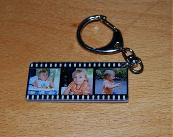 FILM Keychain personalized with 3 photos