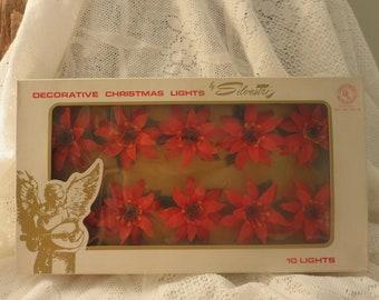 Vintage Silvestri Poinsettia Christmas Lights - Original Box
