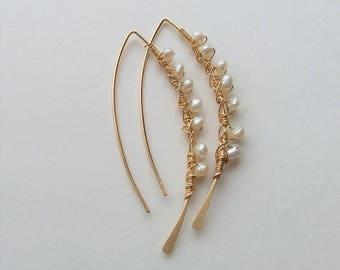 14K Gold Filled Earrings,Open Hoop Earrings, Minimalist Earrings, Modern Earrings, Threader Earrings, Thin Dainty Earrings, Pearl Earrings.