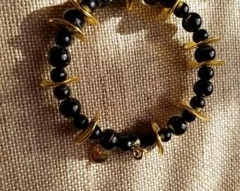Black and Gold Bangle Bracelet