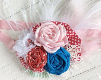 Red blue pink headband baby headband girls headband infant headband toddler headband newborn headband persnickety bushel and a peck m2m