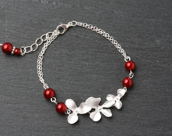 Red bridesmaid Bracelet, Red wedding jewelry, Orchid Bracelet, Red wedding Bracelet, Bridesmaid Gift, Mother of the bride gift, Moh Gift