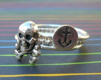 Sterling Silver Pirate Stacking Ring Set with Skull and Crossbones and Anchor