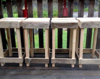 Rustic Reclaimed Pallet Wood Stool, Backless Bar Stool