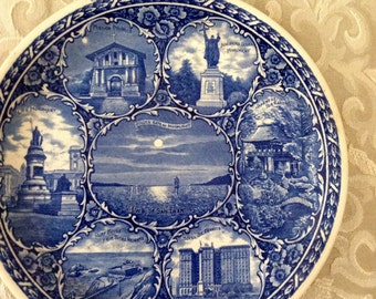 Antique Rowland and Marbellus Co. San Francisco Blue Transfer Ware Plate