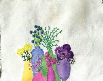Still Life, Embroidery Art, Watercolours, Hand Embroidery, Mixed Media, Fibre Art