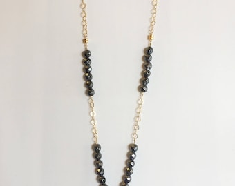 Pewter Metallic Hematite Gemstone and Gold Chain Beaded Necklace with Blue Agate Pendant; Long Necklace; Beaded Necklace; Pendant Necklace