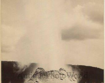 Castle Geyser Yellowstone National Park antique albumen photo Wyoming