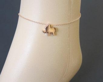 Tiny Shiny Lucky Elephant Rose Gold-Filled Chain Anklet, Lucky Anklet. Rose Gold Anklet.