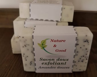 Hand made SOAP Exfoliating l d (110 g) Sweet Almonds oil 100% natural