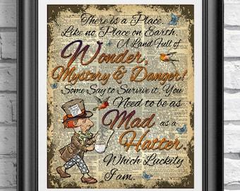 Alice in wonderland book page print, Mad Hatter Print, Wonderland Poster Print, Wall decor, Dictionary