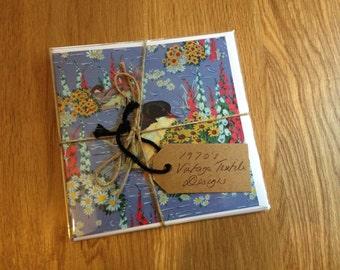Bundle of 5, Vintage 1970s Textile Design Greeting Cards *Free UK Postage*