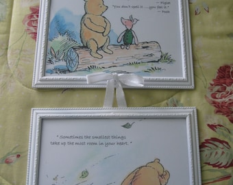 Set of Classic Winnie the Pooh Prints framed in  5x7 in color of your choice .