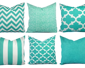 One Indoor Outdoor Pillow Cover - 18 Inch 20 Inch 22 Inch - Aqua Pillow - Teal Pillow Covers - Patio Pillow - Couch Pillow Cushion Cover