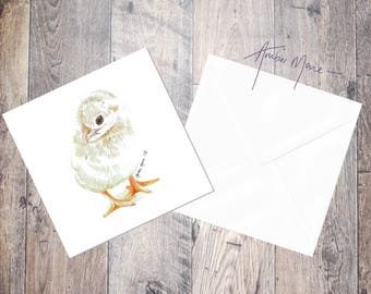 Easter Yellow Fluffy Chick Greeting Card / Blank Inside