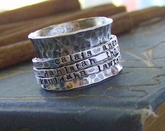 Hand stamped Tripple band sterling silver spinner ring mothers ring