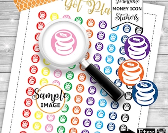 Money Icon Stickers, Functional Planner Stickers, Printable Icon Stickers, Stickers For Planners, Money Planner Stickers