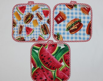 Picnic Hot Pads / Fun Hot Pads / Hot Pads / Pot Holders / Burgers & Fries / Watermelon / Mother's Day Gifts