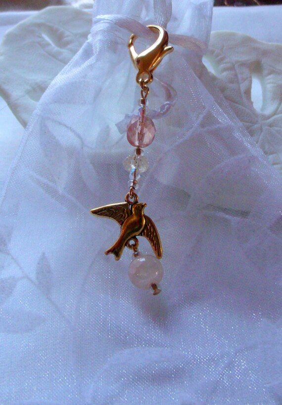 RESERVED /TERRI /EASYLIFE--Soap add on zipper pull - pink and gold dove charms-/shells  set of 5