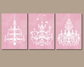 Angie overby on etsy chandelier wall art canvas or prints pink watercolor wall art pink bathroom decor bedroom aloadofball Images