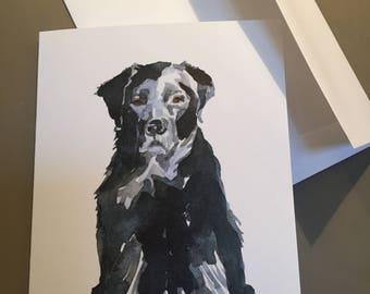 Set of 5 note cards, Black Labrador