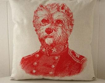 Général Yorkie sérigraphie coton toile throw pillow 18 pouces rouge
