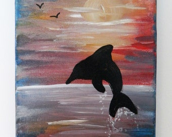 Silhouetted Dolphin Sunset on Canvas